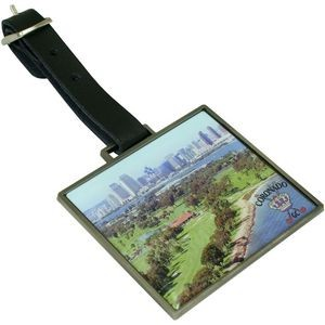 Rectangle Metal Bag Tag with Domed Logo